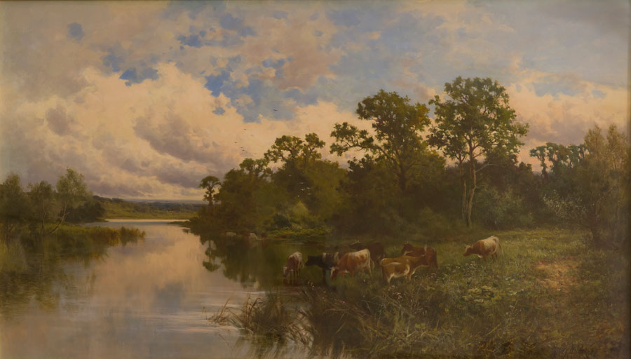 《River Landscape with Cow》 ヘンリー パーカー